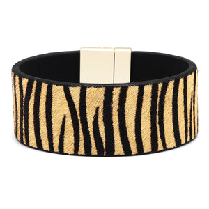 Seanuo Real Horse Hair Animal Print Leather Bracelet