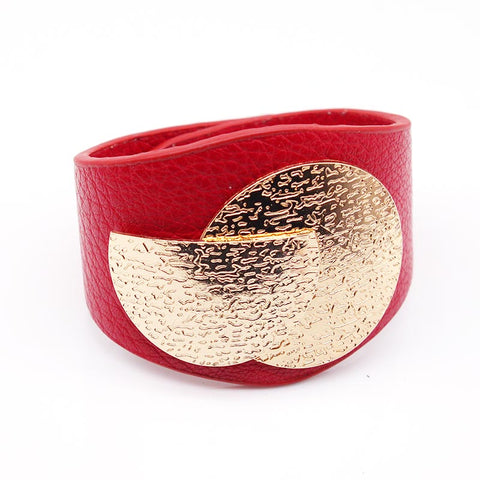 Image of TOTABC Wide Charm Leather Bracelets