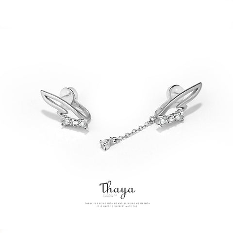 Image of Real Earrings Silver 925 White Wings Crystal Eardrop Clip On Earrings For Women Girl Without Piercing