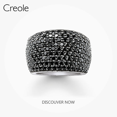 The Band Ring Black CZ Pave,2019 Brand 925 Sterling Silver Fashion Jewelry Vintage