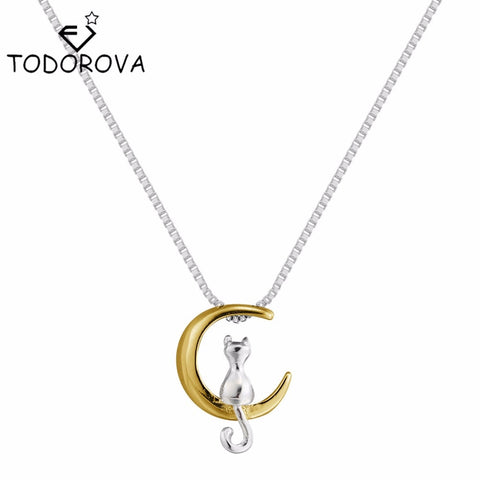 Image of Lovely Cat On the Gold Moon Pendant Necklace Statement Necklace for Women