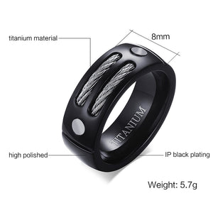 VNOX Stylish Black 100% Titanium Ring Men 8MM Unique Male Rings with Huia WIA Design