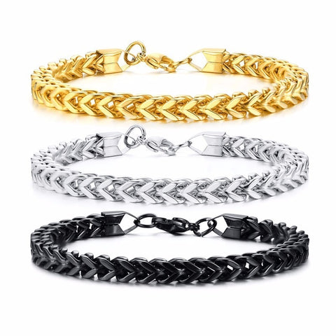 Image of Double Layered Curb Chain Bracelets for Men Stainless Steel Links