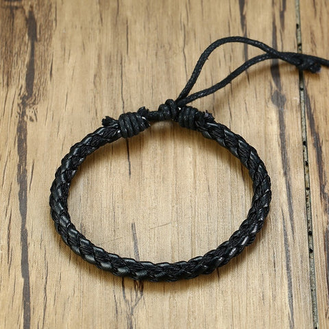 Image of Mens Handmade Braid Leather Rope Chain Bracelets Casual Adjustable Length
