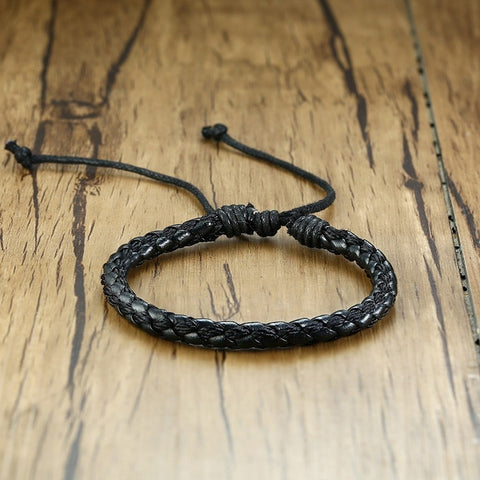 Mens Handmade Braid Leather Rope Chain Bracelets Casual Adjustable Length