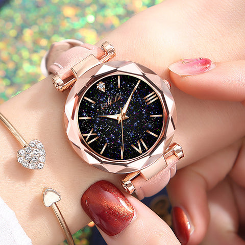 Women Casual Leather Ladies Watch Quartz Wrist Watch Starry Sky