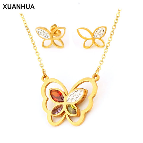 Stainless Steel Jewelry Set Pendant Butterfly Necklace And Earrings