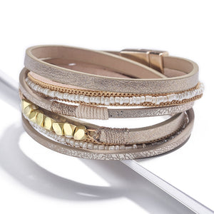 Trendy Leather Bracelet Women Bohemian Beads Braided Multilayer
