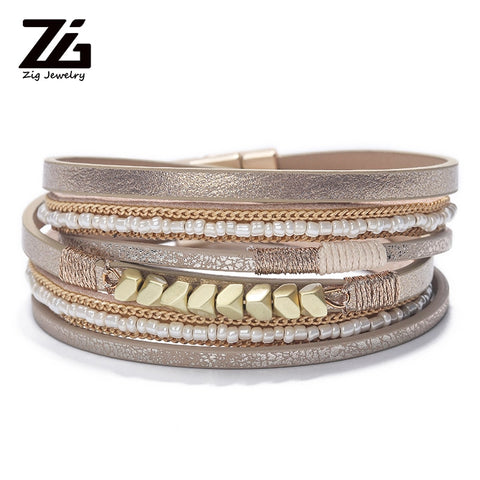 Image of Trendy Leather Bracelet Women Bohemian Beads Braided Multilayer