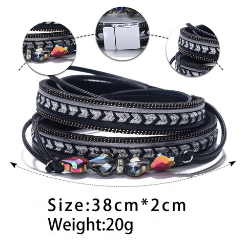 Image of Leather Bangles For Women Crystal Accessories Jewelry