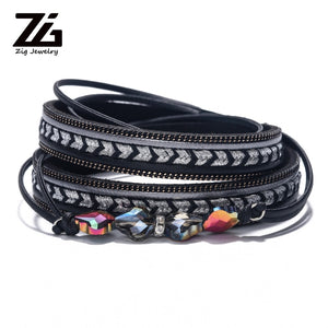 Leather Bangles For Women Crystal Accessories Jewelry