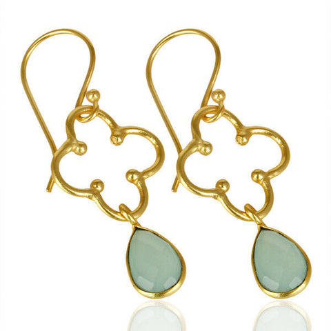Image of Bezel Set Aqua Chalcedony Fashion Earrings Gold Plated Handmade