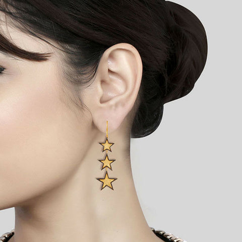 14K Gold Plated Black Oxidized Handmade Three Star Design Brass Earrings