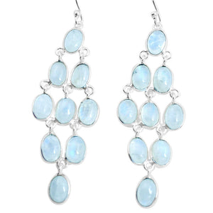 19.09cts Natural Rainbow Moonstone 925 Silver Chandelier Earrings