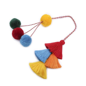 Bohemian Style DIY Hand woven Long Tassel Keychain Colorful