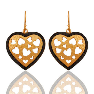 Handmade Heart Designer Brass Earrings 18k Gold Plated
