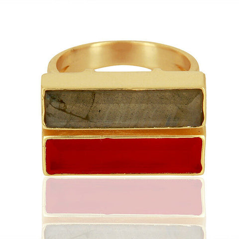 Image of Pink Chalcedony Labradorite 18k Gold Plated Brass Ring