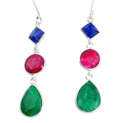 17.96cts Natural Green Emerald Ruby Sapphire 925 Silver Dangle Earrings