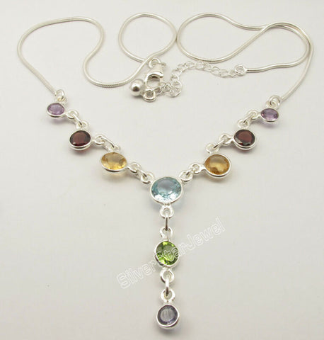 Image of 925 Sterling Silver FACETED ROUND MULTISTONES Necklace 17 3/4""