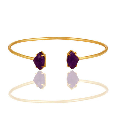 Image of 14K Yellow Purple Aventine Gemstone Prong Set Gold Plated Brass Bracelet