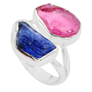 925 Silver 10.31cts Natural Pink Ruby Rough Sapphire Rough Ring Size 7