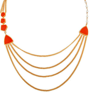 Gold Plated Brass Three Layered Chain Red Enamel Designer Women's Necklace