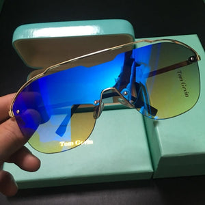 Fashion Oversized Blue Yellow Gradient Sunglasses Women Luxulry Brand