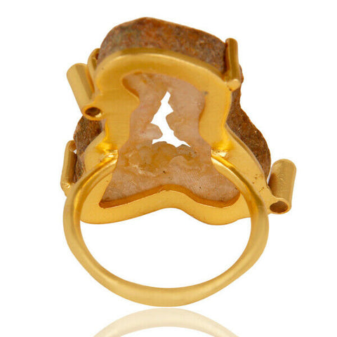 Image of Prong Set Druzy Agate 18k Gold Plated Cocktail Brass Ring