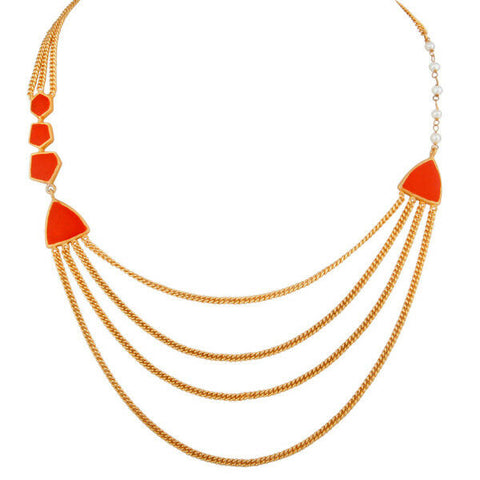 Image of Gold Plated Brass Three Layered Chain Red Enamel Designer Women's Necklace
