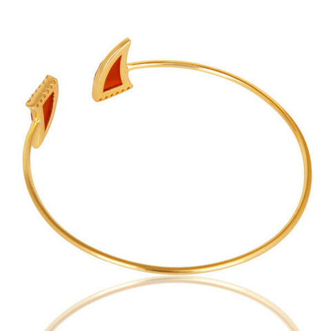 Image of Red Onyx White Zircon Openable Cuff Bracelet 14K Gold Plated