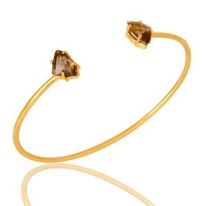 14K Yellow Gold Plated Brass Smoky Quartz Stack able Cuff Bangle