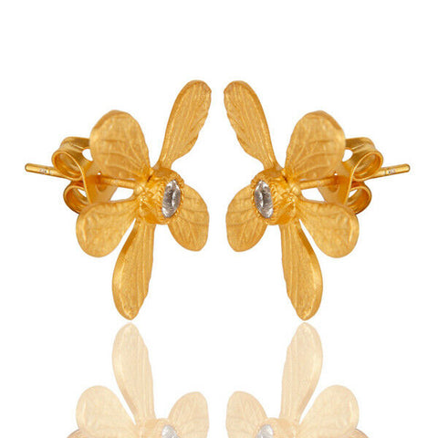 14K Gold Plated Handmade Flower Design Stud Brass Earrings