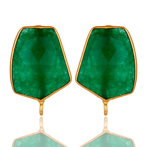 Earrings Gemstone Gold Plated Brass Fashion Jewelry
