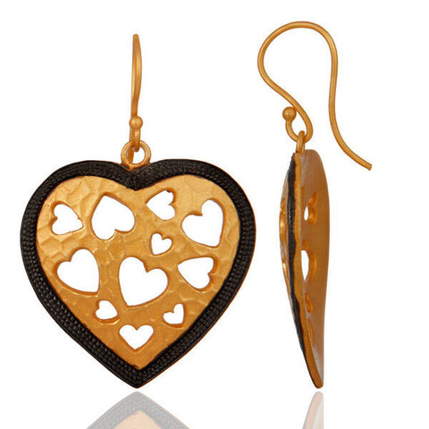 Image of Handmade Heart Designer Brass Earrings 18k Gold Plated