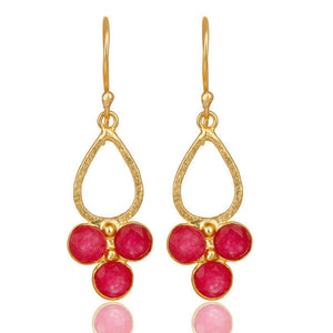 Women's 18K Gold Plated Red Aventurine Drop Earrings