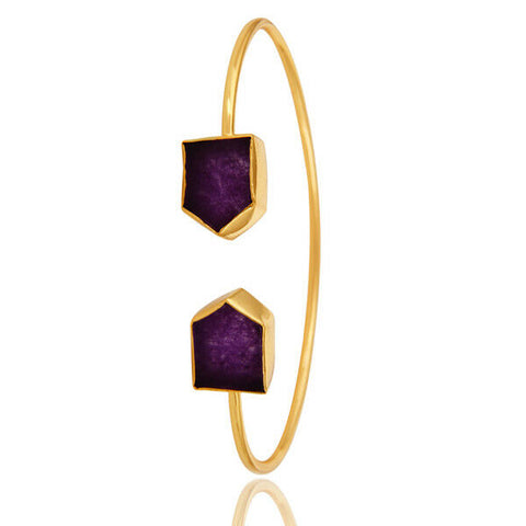 18-Karat Shiny Yellow Gold Plated Brass Purple Aventine Cuff Bangle