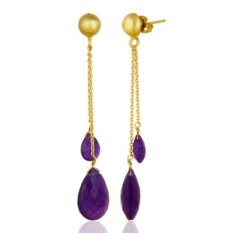 Image of Double Drop Aventurine 18k Gold Plated Fashion Brass Earrings