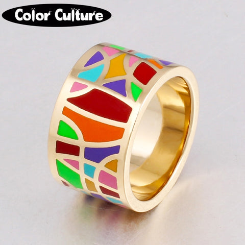 Dropshipping Fashion Jewelry Stainless Steel Rings for Women Filled Colorful Enamel