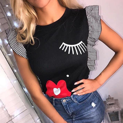 GUMPRUN New Women Ruffle Fashion Eyelashes Red lips Print T Shirt
