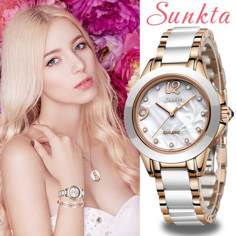 Image of SUNKTA Fashion Women Watches Ladies Bracelet Watch Casual Ceramic