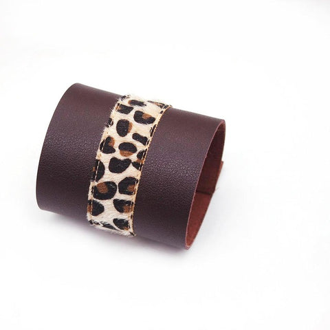 Image of Leather Leopard Charm Bracelet Style Fashion Luxury Unisex