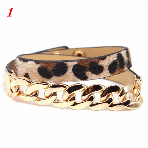 Image of Leopard Bangle Bracelets For Women Boho Belt Buckle