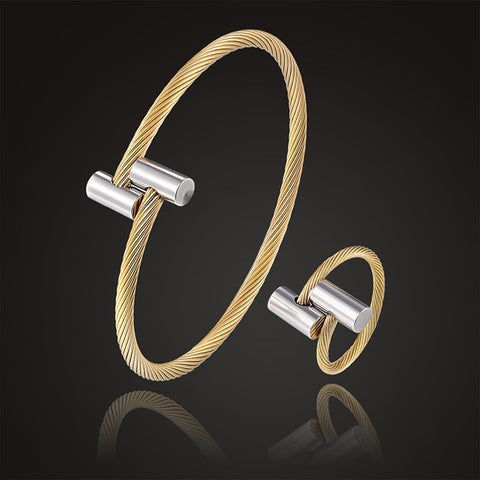 Image of Seel bangle with ring open size jewelry set classic style stretch cylinder bracelet