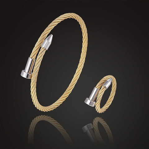 Image of Ring open size jewelry set classic style stretch nail bracelet fashion jewelry best gift