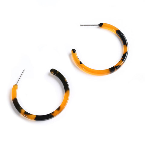 Image of Leopard Acetate Earrings Geometric Simple Acrylic Resin Earrings