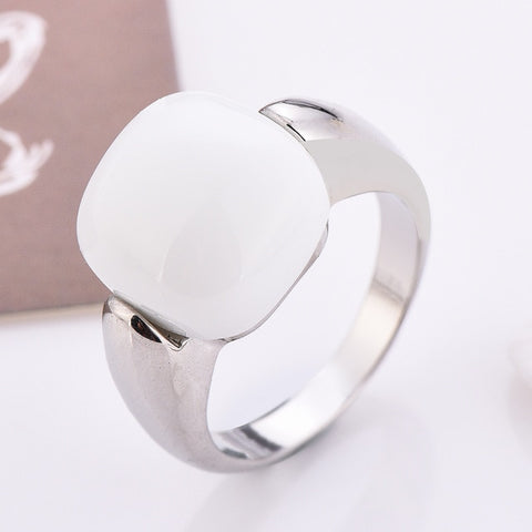 Black/White/Pink 3Colors Stone Rings For Women Silver Jewelry