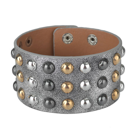 Image of Multilayers Gold  Silver Black  Rivet Chains Punk Wide Cuff Leather