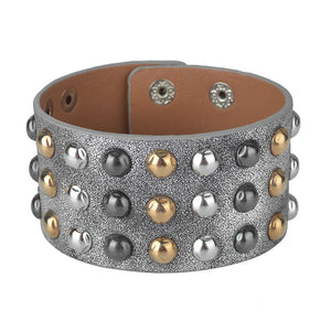 Multilayers Gold  Silver Black  Rivet Chains Punk Wide Cuff Leather