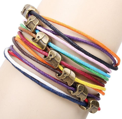Image of Handmade Leather Charms Cuff Bracelet Fashion Vintage Beads