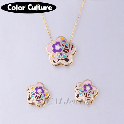 Image of Vintage Costume Jewelry Flower Necklace Women Gold-color Square Pattern